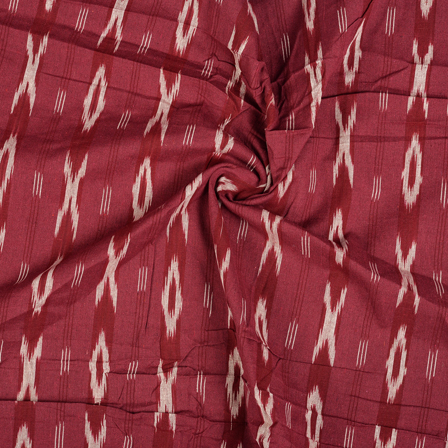 Red and White Cotton Ikat Fabric-12104
