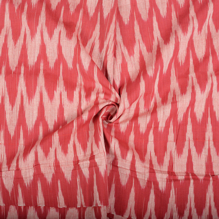 Red and White Cotton Ikat Fabric-12117