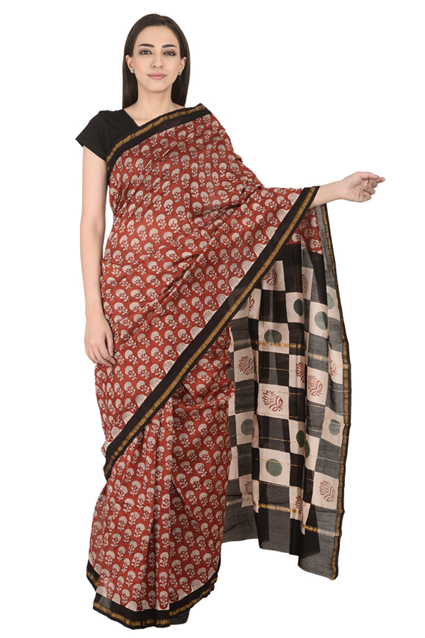 Red and White Floral Design Cotton Block Print Chanderi Saree-20125