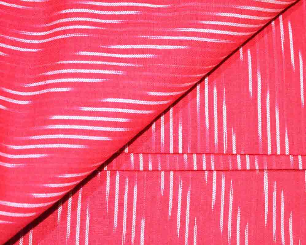 Red and White Ikat Blouse Fabric