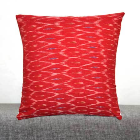 Red and White Ikat Print  Cushion Cover
