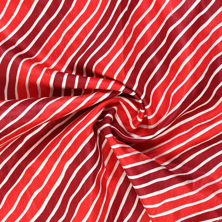 Red and White Lehariya Design Kota Doria Fabric-25070