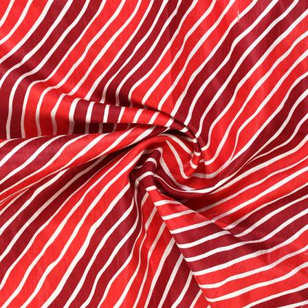 Red and White Lehariya Design Kota Doria Fabric-25070