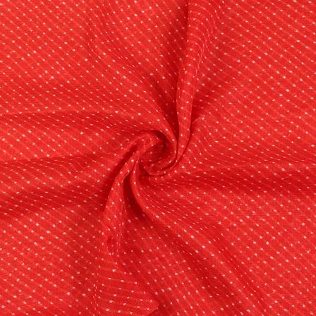 Red and White Lehariya With Dot Design Kota Doria Fabric-25082
