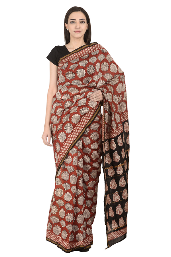 Red and White Peacock Design Block Print Chanderi Saree-20110