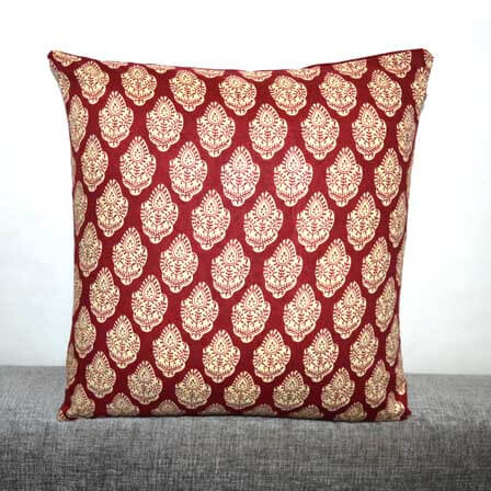 Red and White Sanganeri Hand Block Print Indian Cotton Cushion Cover