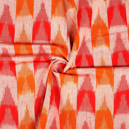 Red and Yellow 3D Cotton Ikat Fabric-12076