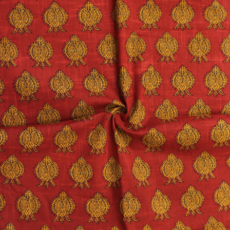 Red and Yellow Floral Pattern Block Print Cotton Slub Fabric-14326