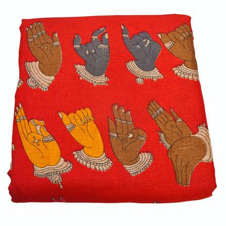 Red and Yellow Hand Mudra Pattern Kalamkari Manipuri Silk-16029