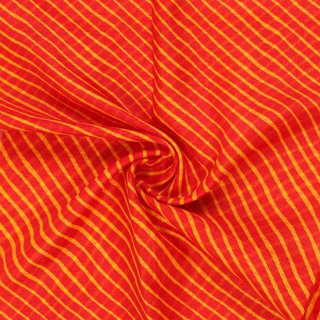 Red and Yellow Lehariya Design Kota Doria Fabric-25073