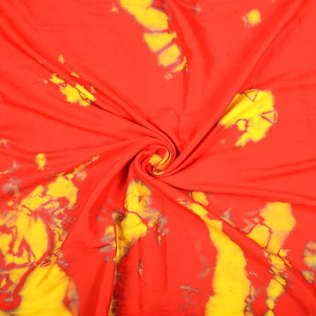 Red and Yellow Satin Batik Fabric-32067