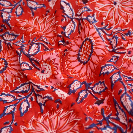 Red and blue large flower cotton block print fabric-5193