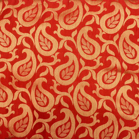 Red and golden paisley brocade silk fabric-4982