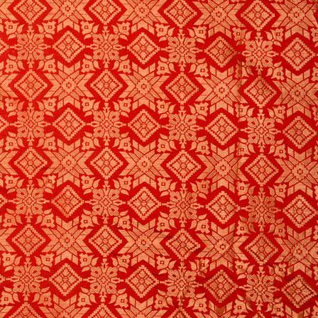 Red and golden star shape brocade silk fabric-4971