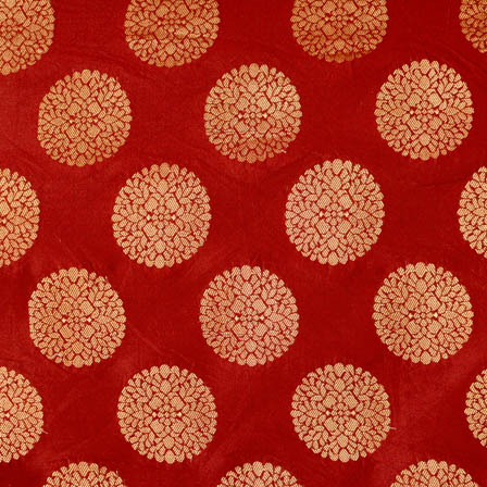 Red and large golden circle shape brocade silk fabric-4631