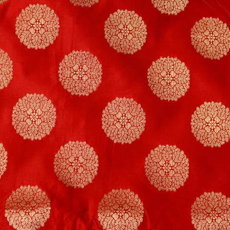 Red and large golden circle shape brocade silk fabric-4639
