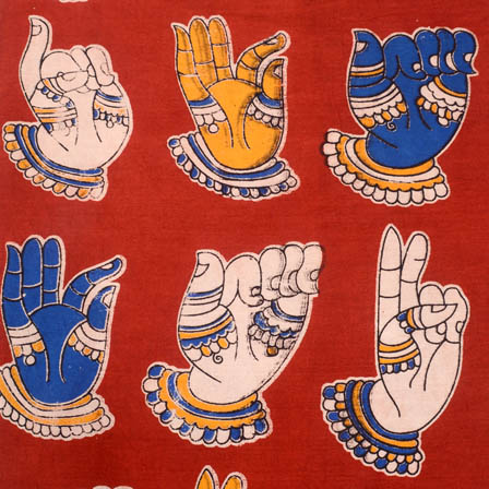Red-blue and white dancing hand mudra kalamkari fabric-5171