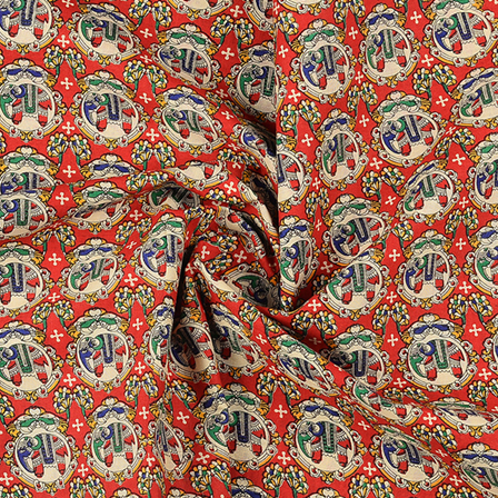 Red-cream and Green Cotton Kalamkari Fabric-10121