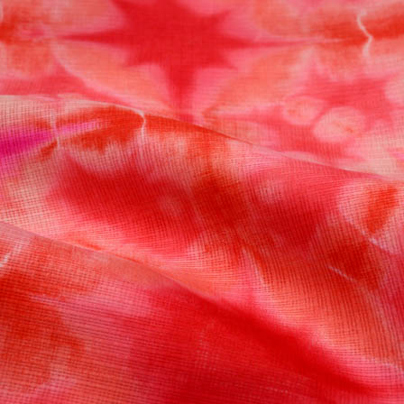 Buy Red Tie Dye Kota Doria Fabric 4961