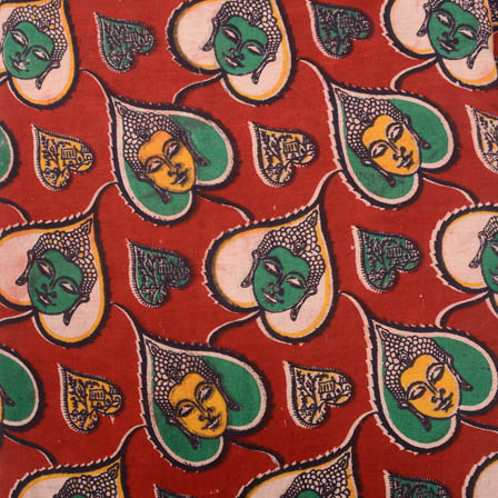 Red-yellow and green buddha-leaf print kalamkari fabric-5164
