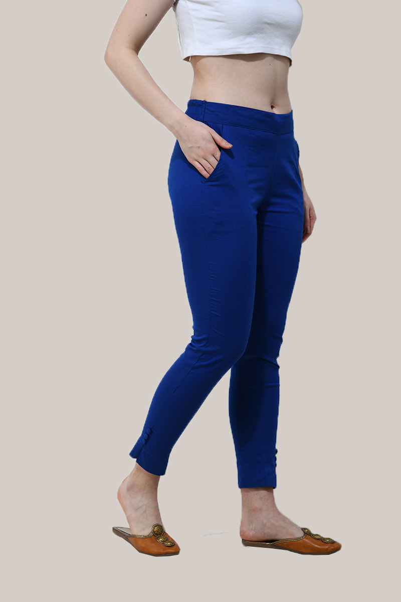 Royal Blue Cotton Lycra Trippy Pant-33515