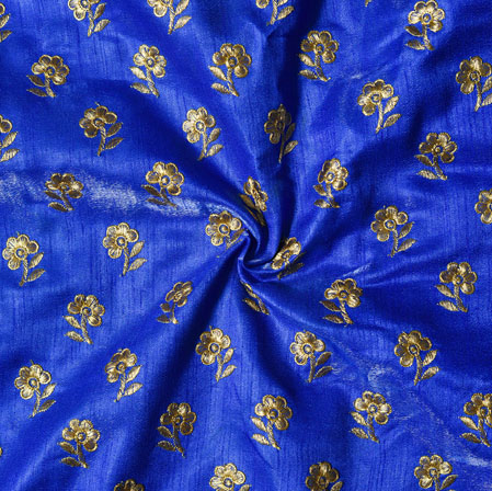 Royal Blue Golden Embroidery Silk Paper Fabric-18502