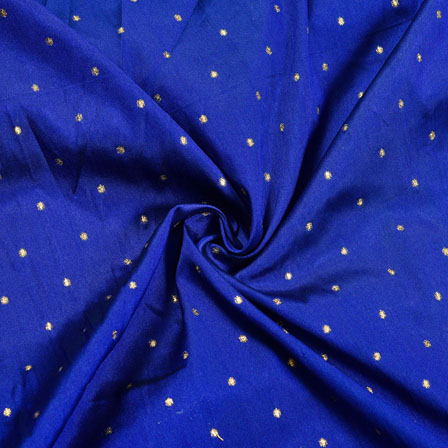 Royal-Blue Golden Polka Zari Taffeta Silk Fabric-12281