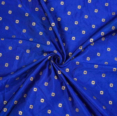 Royal-Blue Golden Polka Zari Taffeta Silk Fabric-12643