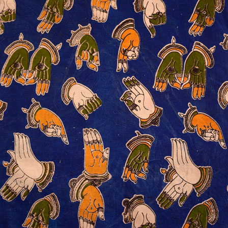 Royal Blue-Orange and Green Hand Mudra Shape Kalamkari Fabric-5463