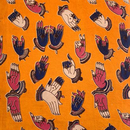 Royal Blue-Orange and Pink Hand Mudra Pattern Kalamkari Fabric-5462