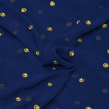 Royal Blue Poly Georgette Base Fabric With Golden Dot Embroidery-60053