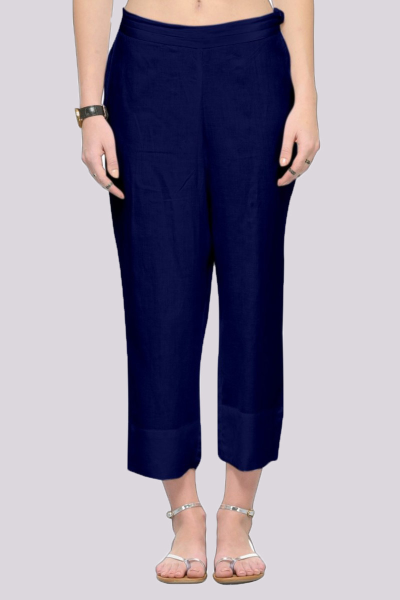 Royal Blue Rayon Ankle Length Pant-33677