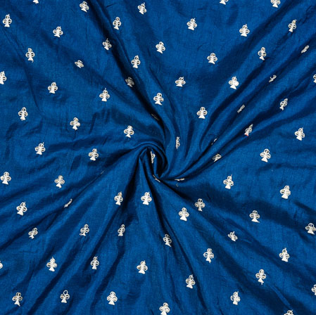 Royal-Blue Silver Floral Polka Zari Taffeta Silk Fabric-12647