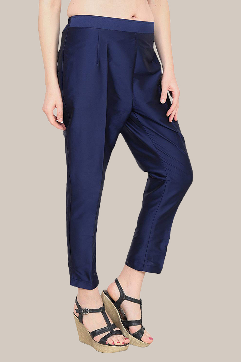 Royal Blue Taffeta Silk Ankle Length Pant-33961