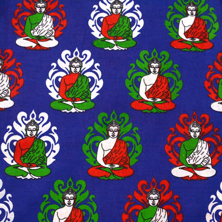 Royal Blue-White and Green Buddha Kalamkari Cotton Fabric-5575