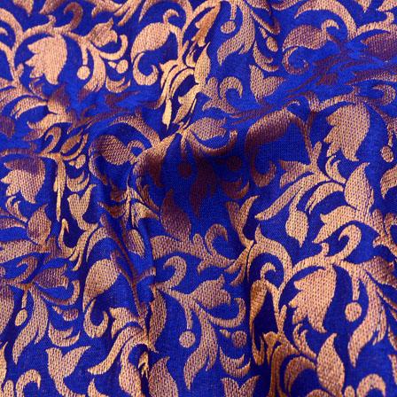 Royal Blue and Gold Leaf Design Chanderi Silk Fabric-5466