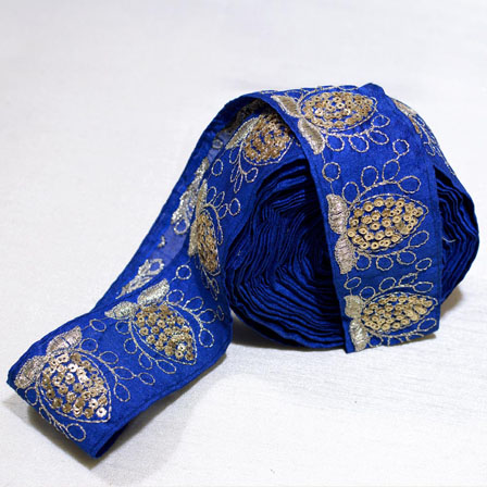 9 MTR Roll of Royal Blue and Golden Floral Design Decorative Costume Trim-4019