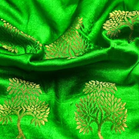 Royal Green and Golden Tree Pattern Brocade Silk Fabric-5452