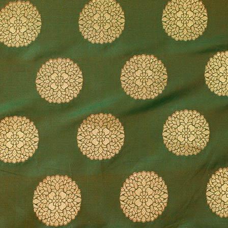 Royal Green and large golden circle shape brocade silk fabric-4642