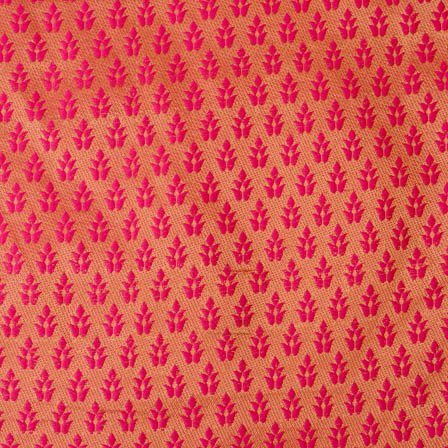 Royal pink and golden leaf pattern silk brocade fabric-4626