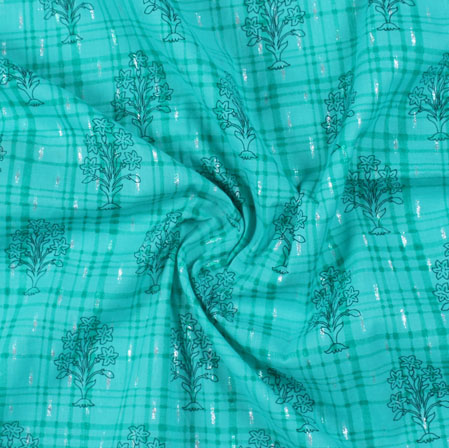 Sea-Green Green Block Print Cotton Fabric-16203