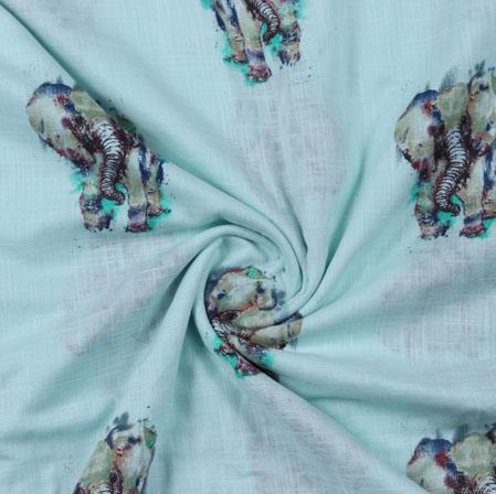 Sea-Green Green Block Print Cotton Fabric-16212