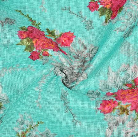 Sea-Green Pink Floral Kota Doria Fabric-42574