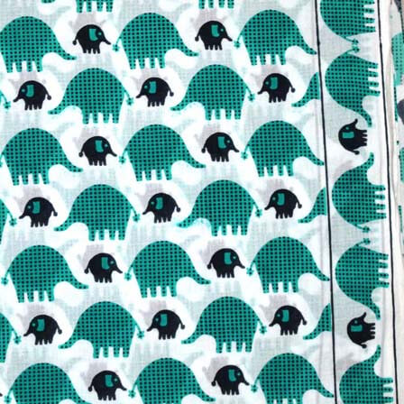 Sea Green White and Black Baby elephant Block Print Cotton Fabric