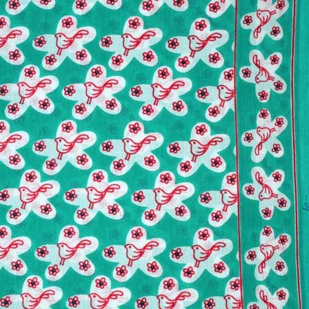 Sea Green White and Maroon Sparrow Block Print Fabric by the Yard