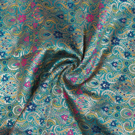 Sea Green Yellow Pink and Golden Floral Banarasi Silk Fabric-9321