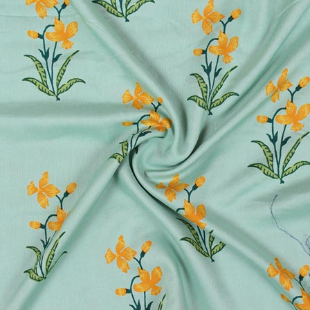 Sea Green Yellow and Green Block Print Rayon Fabric-14911