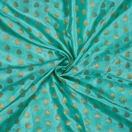 SeaGreen Golden Leaf Satin Brocade Fabric-12853