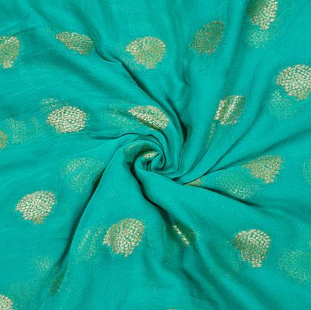 SeaGreen Golden Tree Chiffon Nazmin Fabric-41143