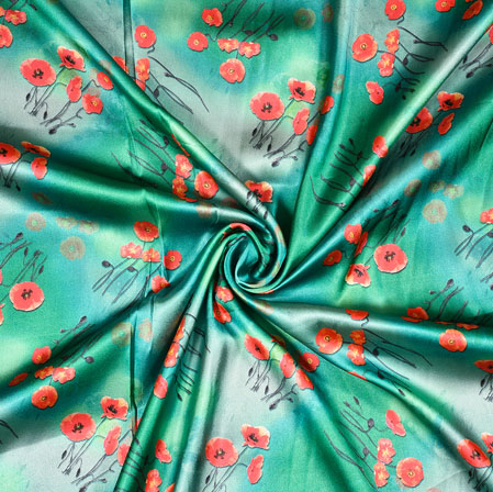 SeaGreen Orange Digital Flower Print Georgette Fabric-41182